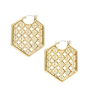 Tory Burch perforated Hexagon Earrings